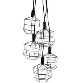 Industrie-Drahtlampe Multi 5-Licht Schwarz Ø13 cm