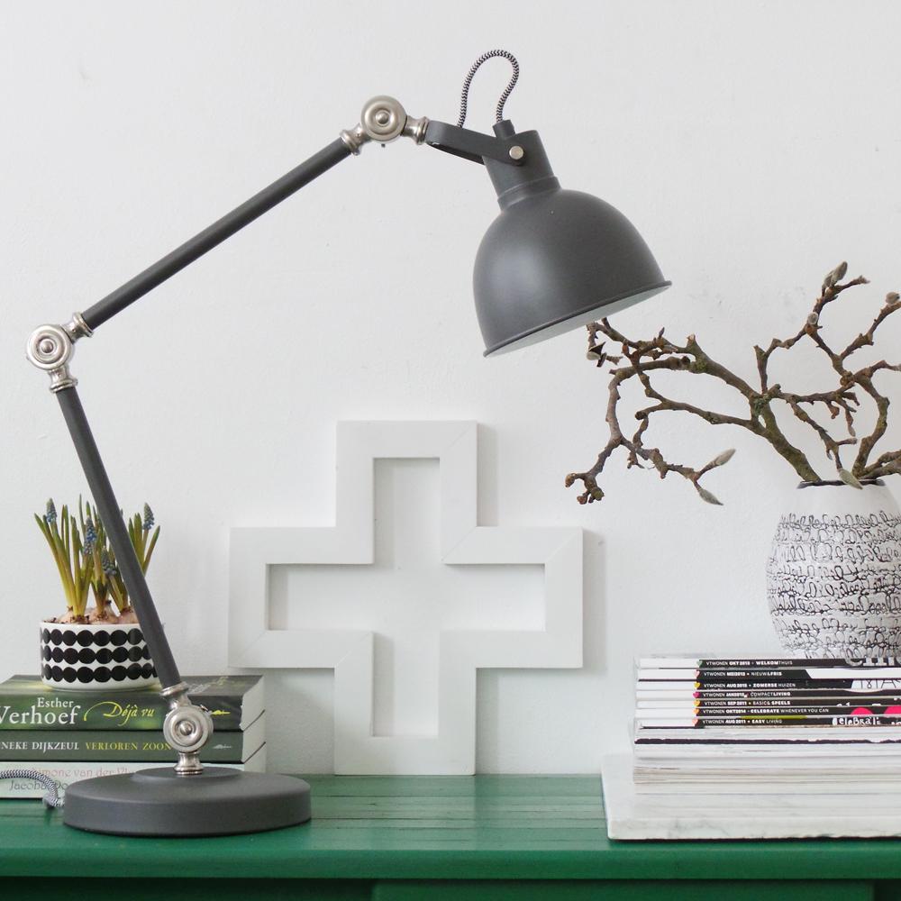 industrielle schreibtischlampe do grau. Black Bedroom Furniture Sets. Home Design Ideas