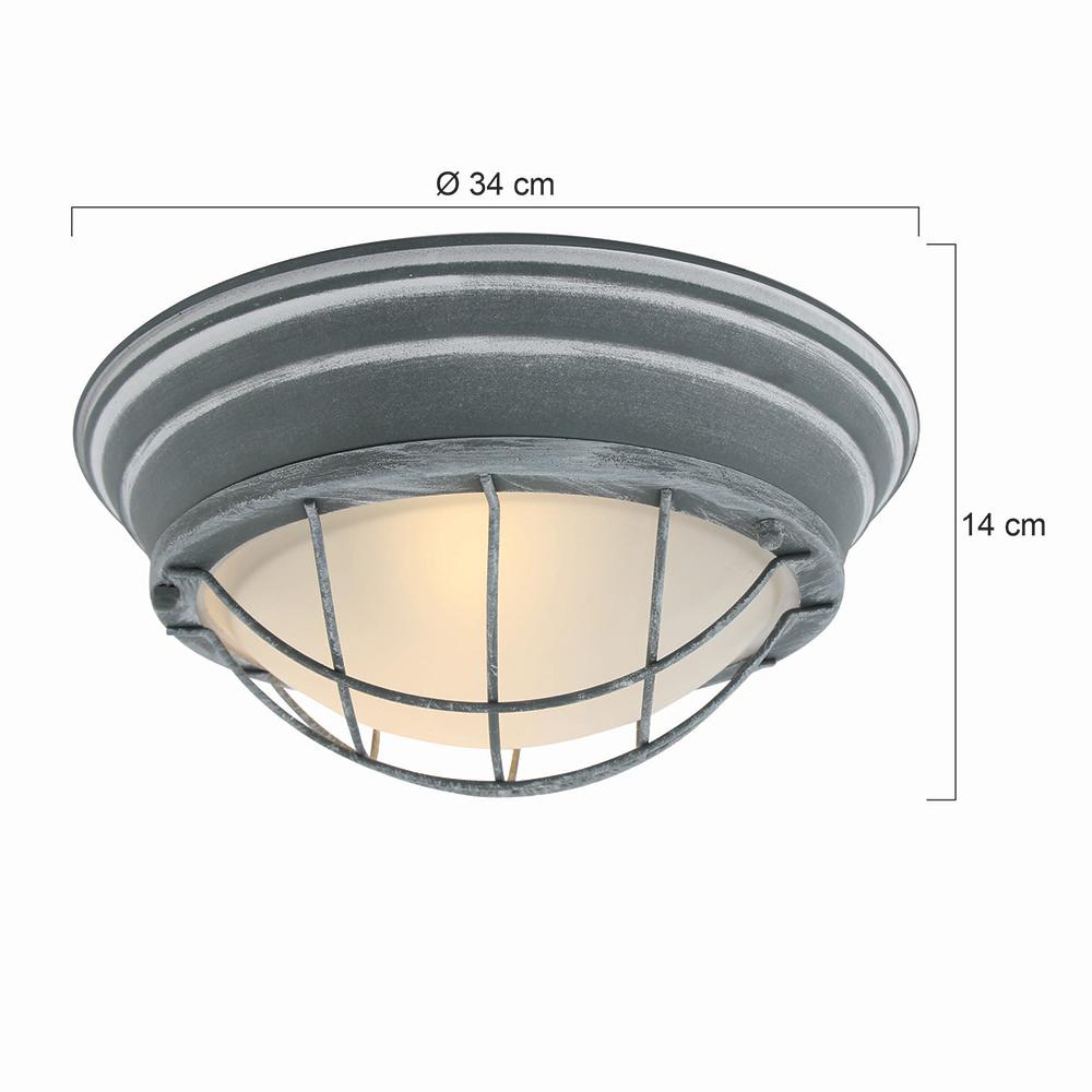 Industrie deckenleuchte omega 34 cm fabriklampe online for Deckenleuchte grau