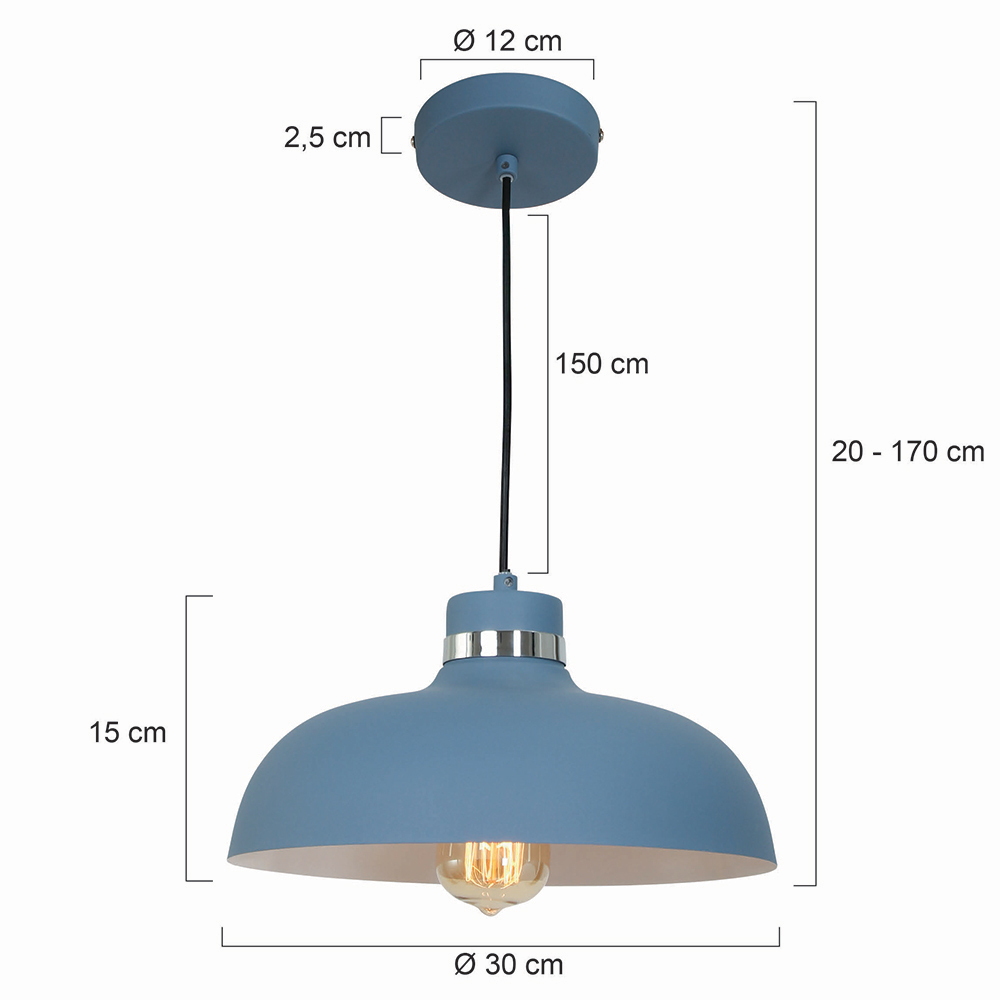 industrie retro lampe logan blau fabriklampe online. Black Bedroom Furniture Sets. Home Design Ideas