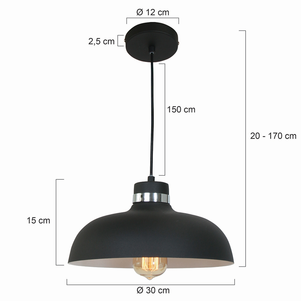 industrie retro lampe logan schwarz fabriklampe online. Black Bedroom Furniture Sets. Home Design Ideas