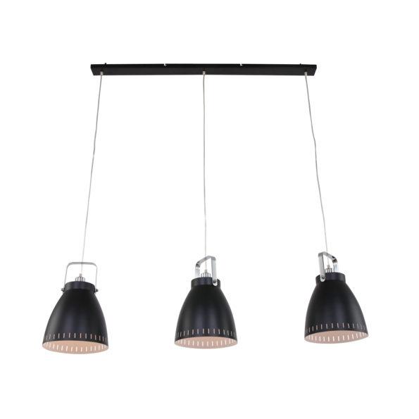 Drielichts-hanglamp-zwart