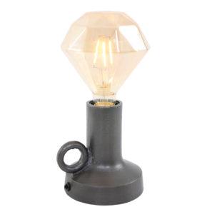 Tischlampe grau kerzenständer